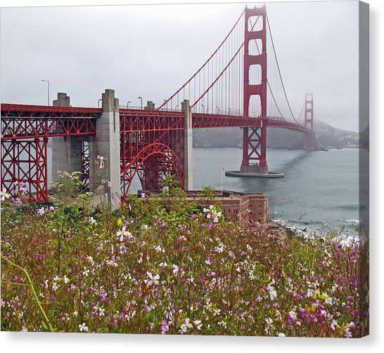 Golden Gate Bridge And Summer Flowers Canvas Print