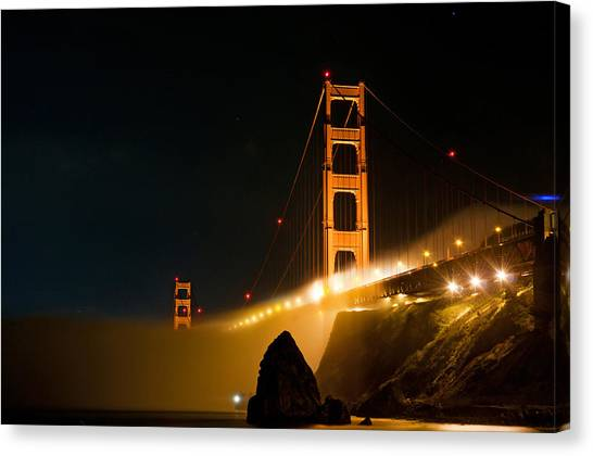 Golden Gate Bridge At Night In The Fog Canvas Print