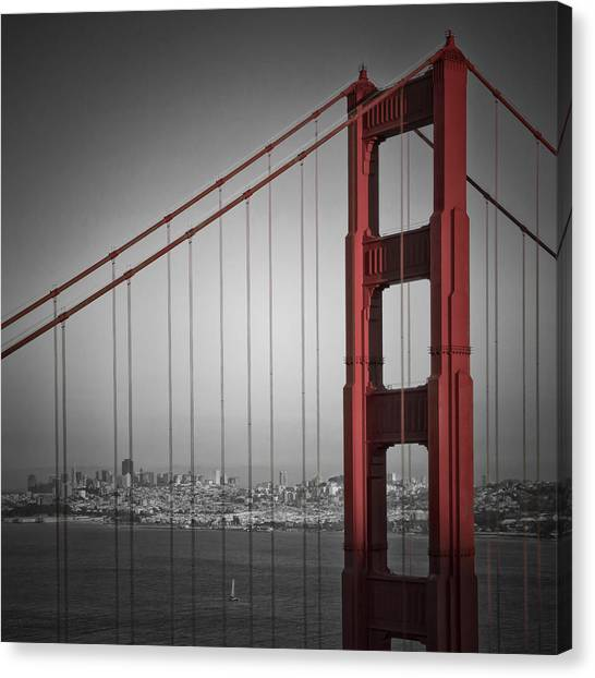 Autumn Scene Canvas Print - Golden Gate Bridge - Downtown View by Melanie Viola