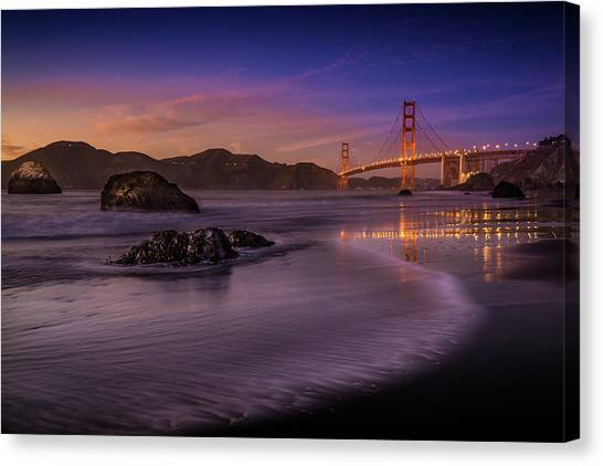 Golden Gate Bridge Fading Daylight Canvas Print by Mike Leske