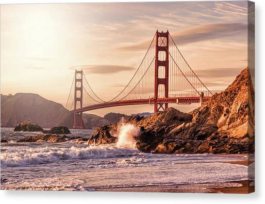 Golden Gate Bridge From Baker Beach Canvas Print by Karsten May