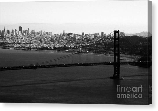 Gate Canvas Print - Golden Gate Bridge In Black And White by Linda Woods