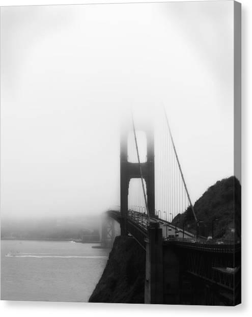 Golden Gate Bridge In Fog ... Sausalito Side Canvas Print