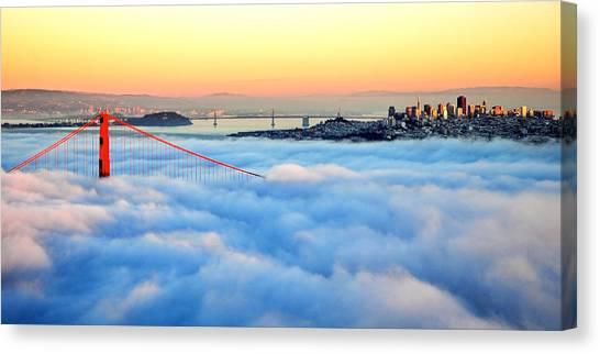 Golden Gate Bridge In Fog At Sunset Canvas Print