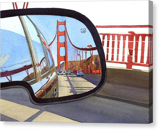 California Canvas Print - Golden Gate Bridge In Side View Mirror by Mary Helmreich