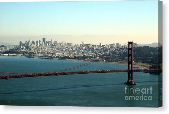 Traffic Canvas Print - Golden Gate Bridge by Linda Woods