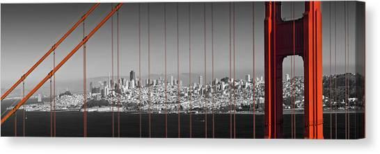 Autumn Scene Canvas Print - Golden Gate Bridge Panoramic Downtown View by Melanie Viola