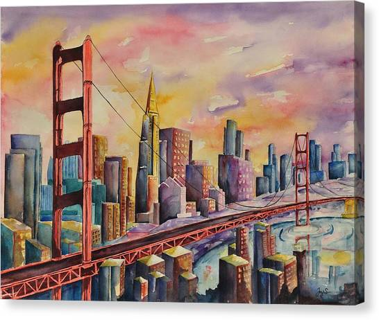 Golden Gate Bridge - San Francisco Canvas Print by Joy Skinner