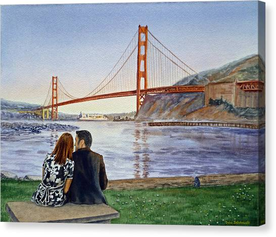 Irina Canvas Print - Golden Gate Bridge San Francisco - Two Love Birds by Irina Sztukowski