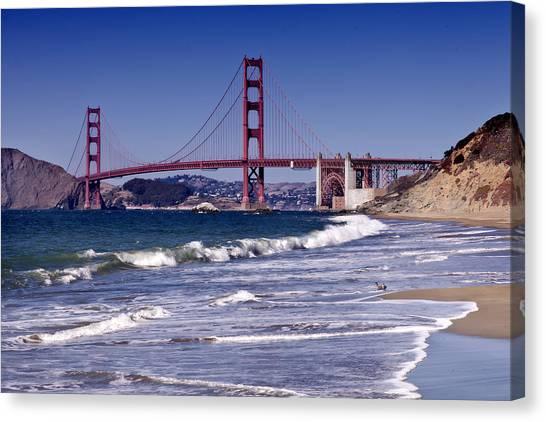 Waves Canvas Print - Golden Gate Bridge - Seen From Baker Beach by Melanie Viola