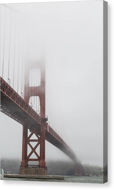 Marin County Canvas Print - Golden Gate Bridge Shrouded In Fog by Adam Romanowicz
