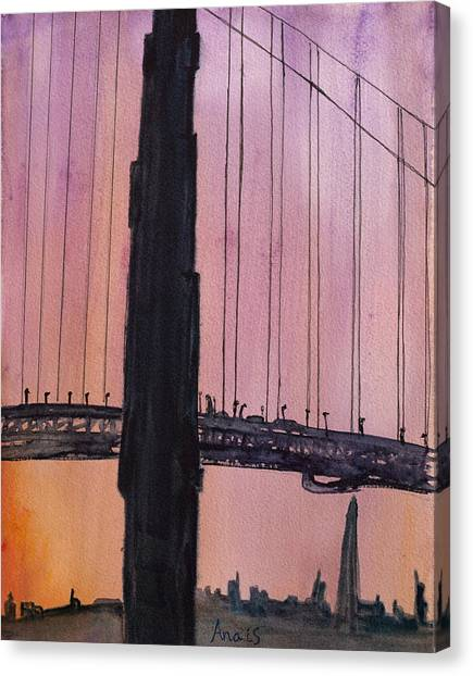 Golden Gate Bridge Tower Canvas Print by Anais DelaVega