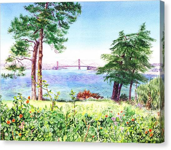Golden Gate Bridge View From Lincoln Park San Francisco Canvas Print