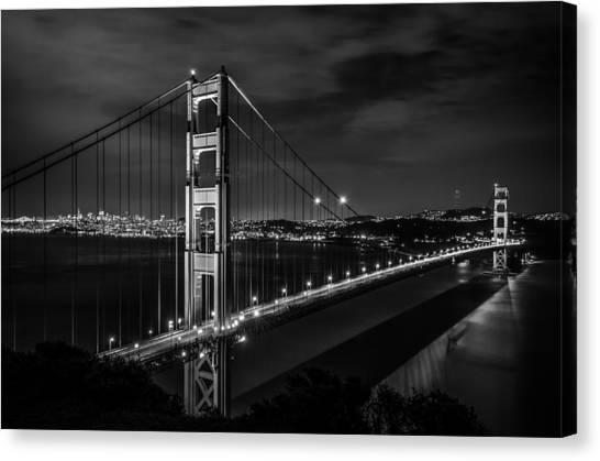 Golden Gate Evening- Mono Canvas Print