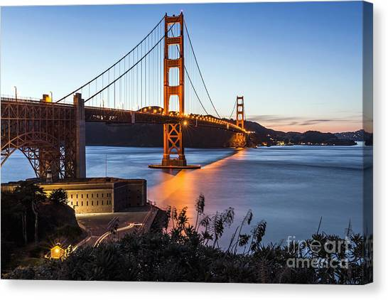 Canvas Print featuring the photograph Golden Gate Night by Kate Brown