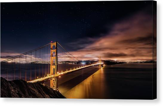 Golden Gate To Stars Canvas Print by Javier De La