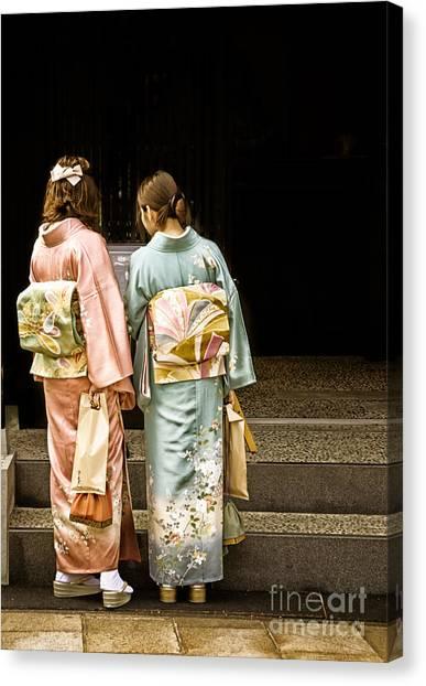 Golden Glow - Japanese Women Wearing Beautiful Kimono Canvas Print