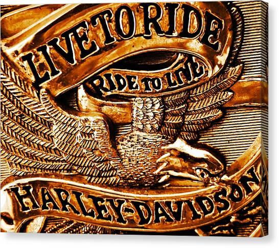 Golden Harley Davidson Logo Canvas Print