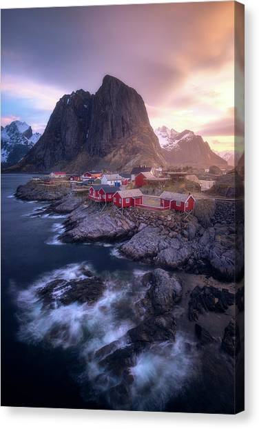 Golden Morning In Hamnoy Canvas Print by Daniel F.