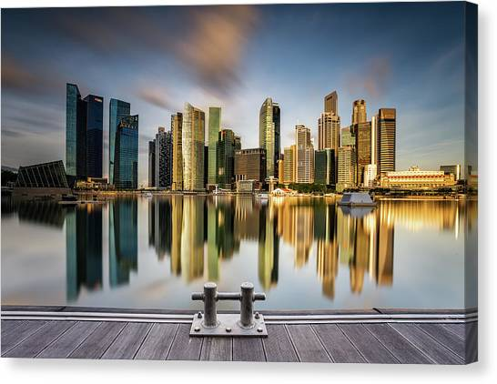 Modern Architecture Canvas Print - Golden Morning In Singapore by Zexsen Xie