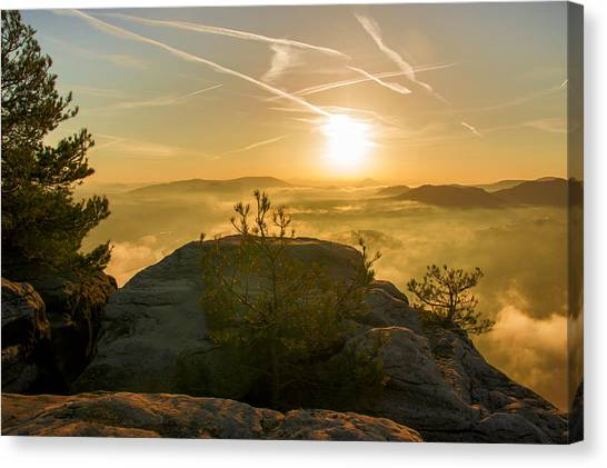 Golden Morning On The Lilienstein Canvas Print