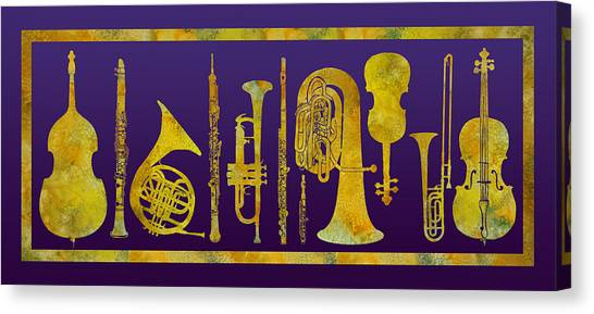Clarinets Canvas Print - Golden Orchestra by Jenny Armitage