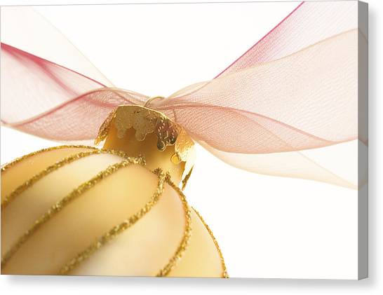 Soft Focus Canvas Print - Golden Ornament With Red Ribbon High Key by Carol Leigh