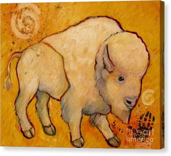 Golden Peace White Buffalo Canvas Print