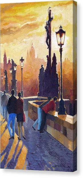 Oil On Canvas Print - Golden Prague Charles Bridge by Yuriy Shevchuk