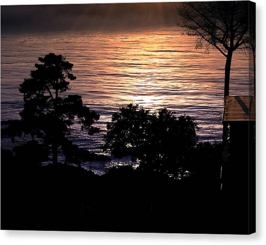 Golden Rays Of Sunset On The Water Canvas Print