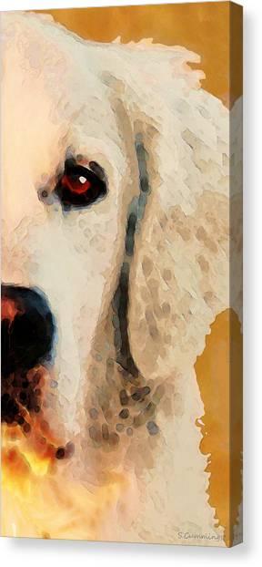 Golden Retrievers Canvas Print - Golden Retriever Half Face By Sharon Cummings by Sharon Cummings