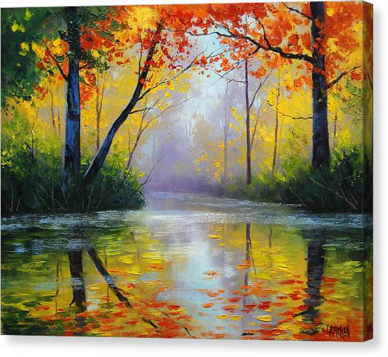 Maple Trees Canvas Print - Golden River by Graham Gercken