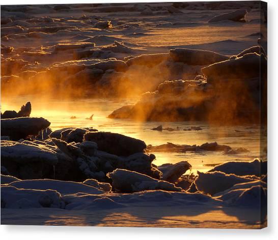 Golden Sea Smoke At Sunrise Canvas Print