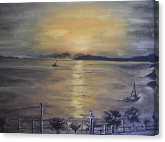 Golden Sea View Canvas Print