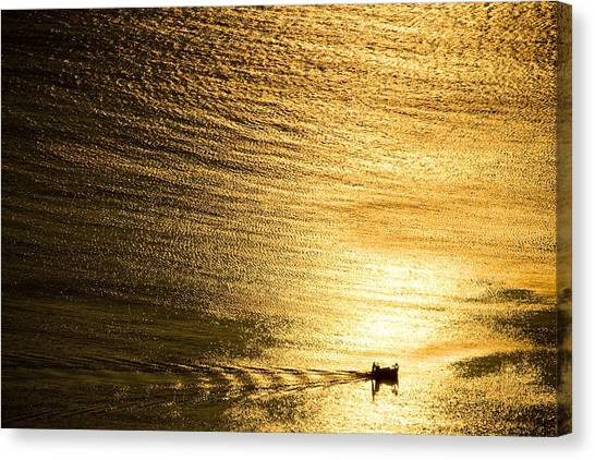 Golden Sea With Boat At Sunset Canvas Print