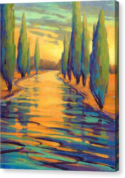 Canvas Print featuring the painting Golden Silence 3 by Konnie Kim