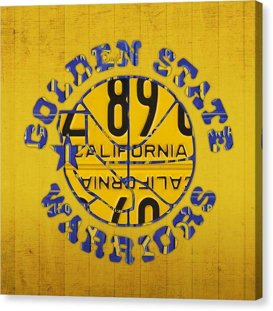 Sport Art Canvas Print - Golden State Warriors Basketball Team Retro Logo Vintage Recycled California License Plate Art by Design Turnpike