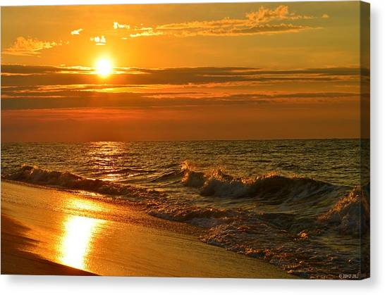 Golden Sunrise Colors With Waves And Horizon Clouds On Navarre Beach Canvas Print