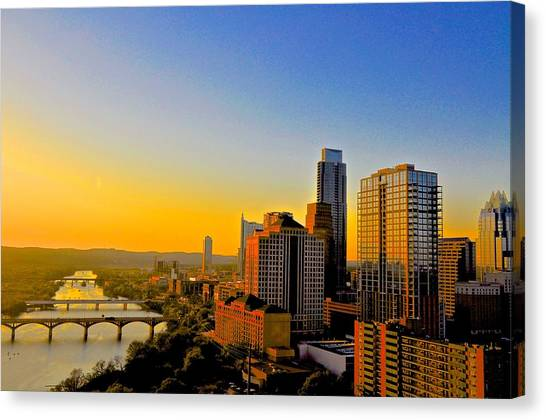 Golden Sunset In Austin Texas Canvas Print