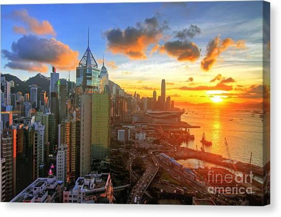 Hong Kong Canvas Print - Golden Sunset In Hong Kong by Lars Ruecker