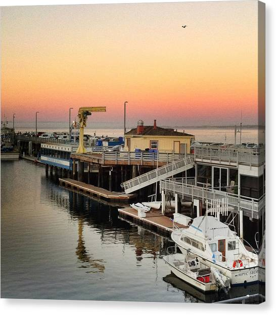 Fishing Canvas Print - Golden Sunset On Wharf #2 Monterey by Charlene Mitchell