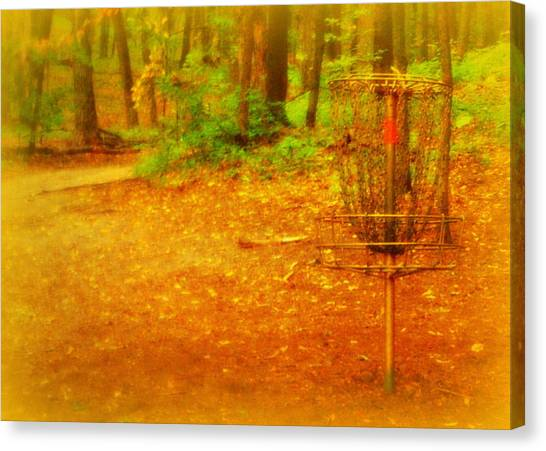 Disc Golf Canvas Print - Golden Target by Alicia Forton