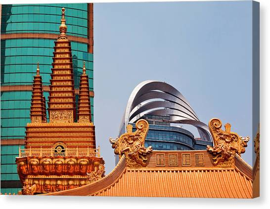 Golden Temple Canvas Print - Golden Temples Dragons Roof Top Jing An by William Perry