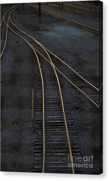 Trains Canvas Print - Golden Tracks by Margie Hurwich