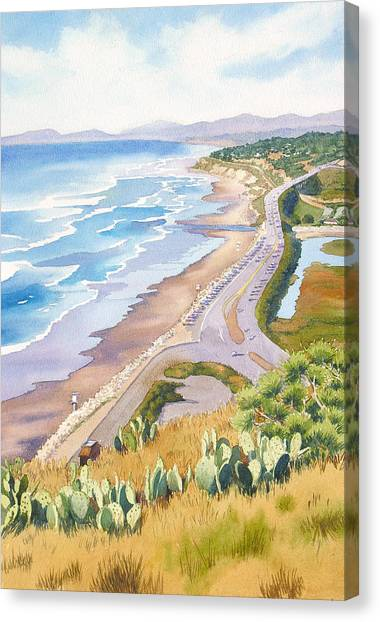 Pacific Coast Canvas Print - Golden View From Torrey Pines by Mary Helmreich