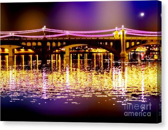 Arizona State University Asu Tempe Canvas Print - Golden Water Bridge by Jeanette Brown