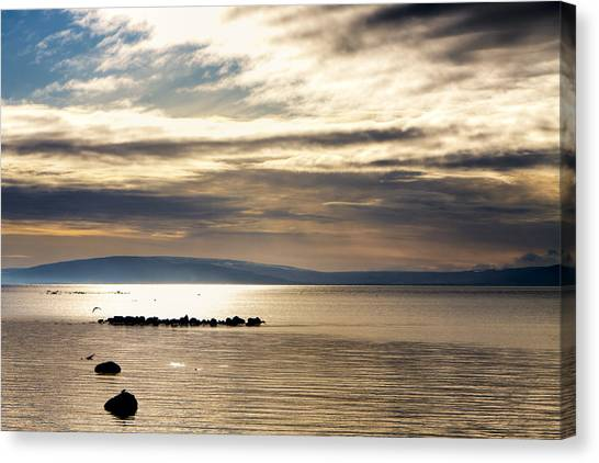 Golden Waters Of Galway Bay Canvas Print by Mark Tisdale