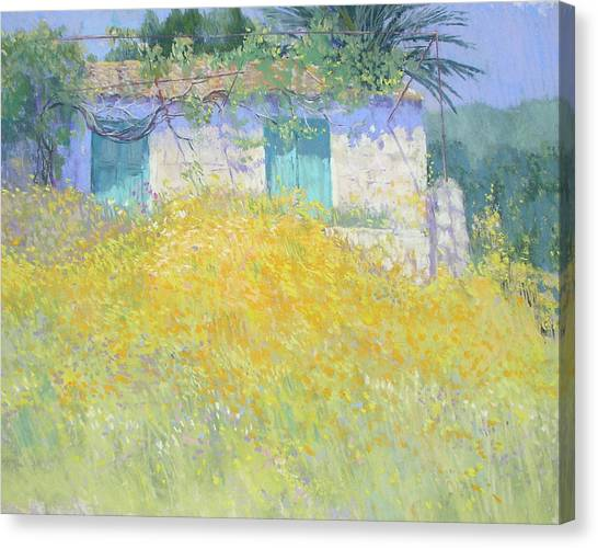 Golden Wildflowers Greece Canvas Print by Jackie Simmonds