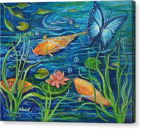 Goldfish And Butterfly Canvas Print