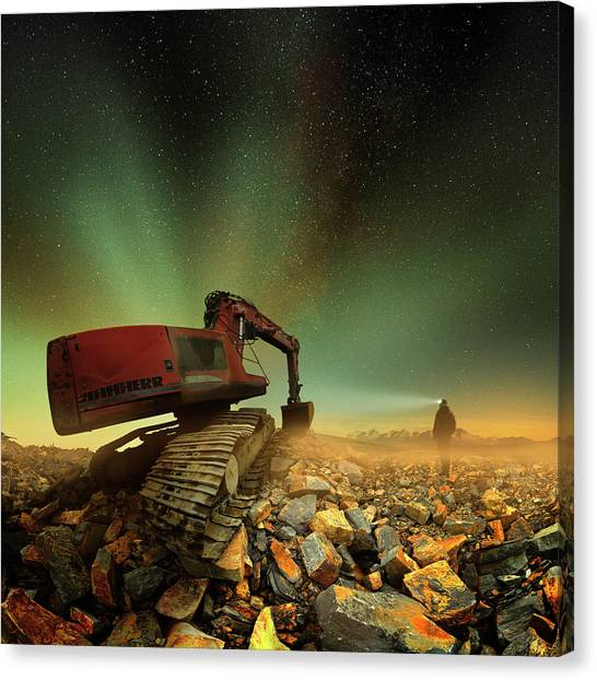 Excavators Canvas Print - Goldherer by Peter Majkut